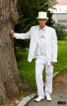 pansky svatebni oblek s cilindrem, bily